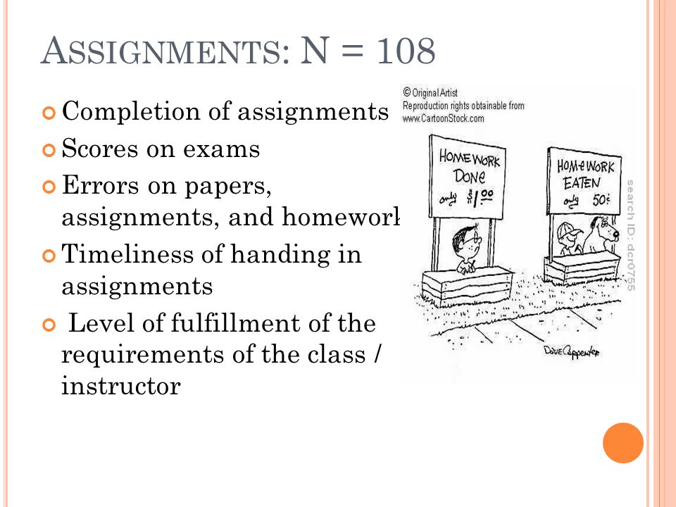 A SSIGNMENTS : N = 108 Completion of assignments Scores on exams Errors on papers, assignments, and homework Timeliness of handing in assignments Level of fulfillment of the requirements of the class / instructor