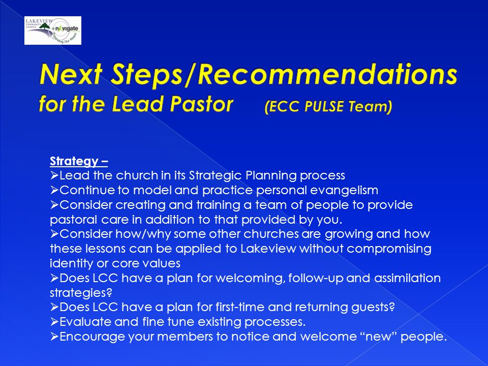 Strategy –  Lead the church in its Strategic Planning process  Continue to model and practice personal evangelism  Consider creating and training a team of people to provide pastoral care in addition to that provided by you.