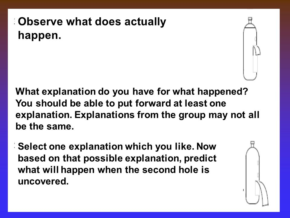 Observe what does actually happen.What explanation do you have for what happened.