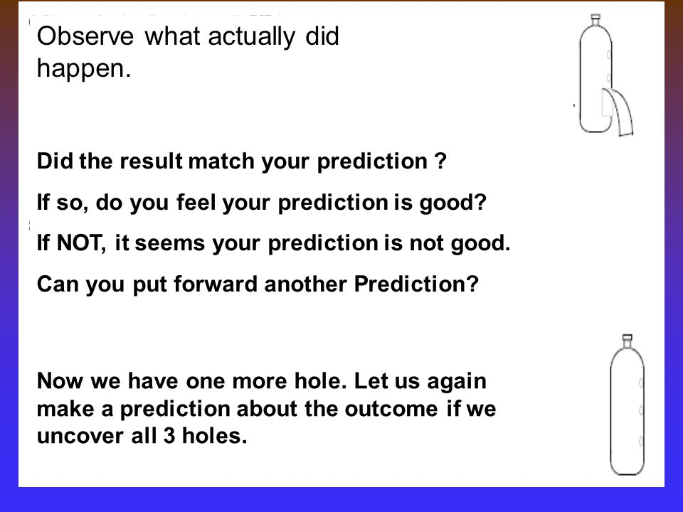 Observe what actually did happen.Did the result match your prediction .