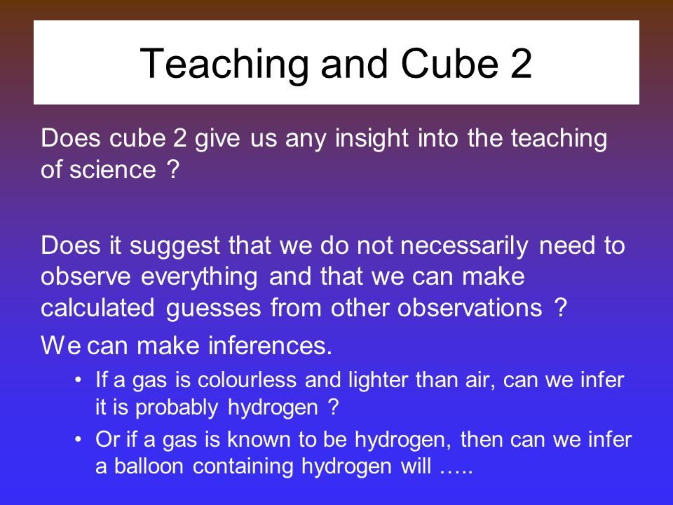 Teaching and Cube 2 Does cube 2 give us any insight into the teaching of science .