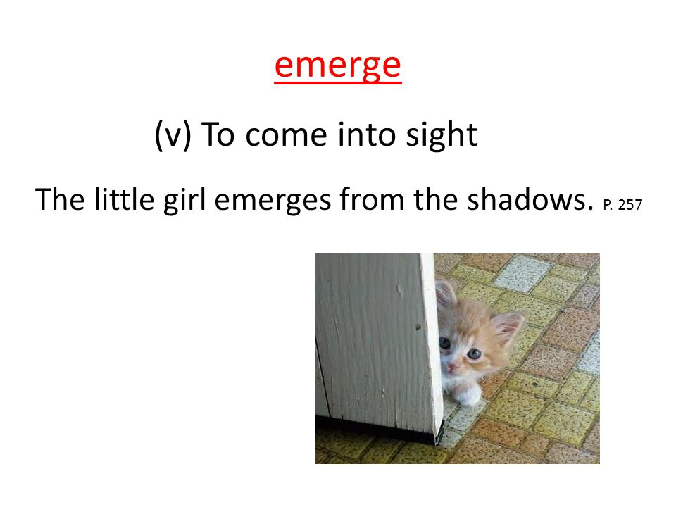 emerge (v) To come into sight The little girl emerges from the shadows. P. 257