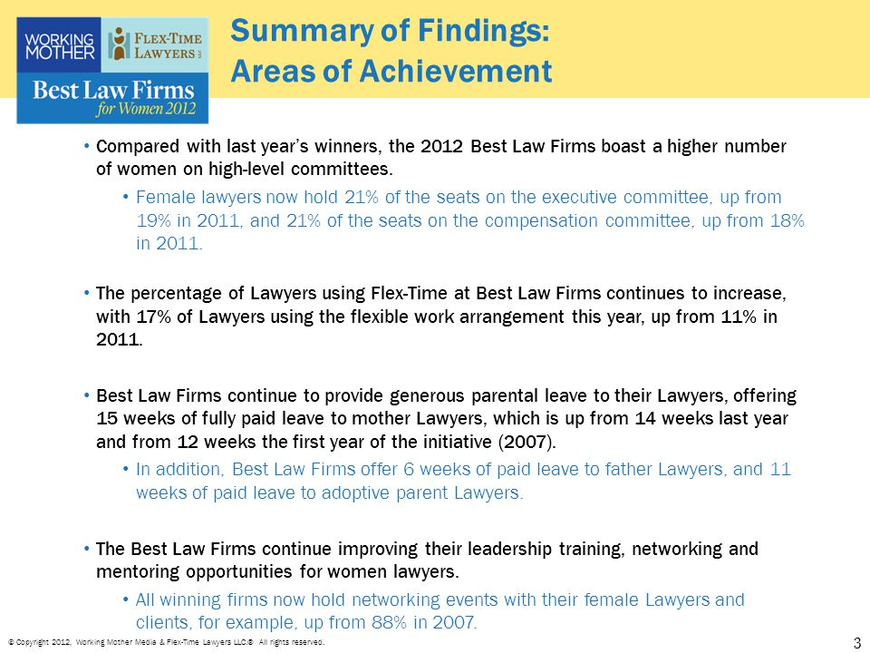 © Copyright 2012, Working Mother Media & Flex-Time Lawyers LLC.® All rights reserved. Summary of Findings: Areas of Achievement 3 Compared with last y