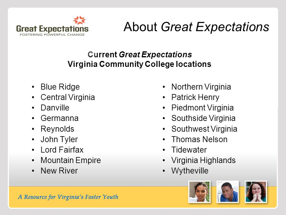 About Great Expectations Current Great Expectations Virginia Community College locations Blue Ridge Central Virginia Danville Germanna Reynolds John Tyler Lord Fairfax Mountain Empire New River Northern Virginia Patrick Henry Piedmont Virginia Southside Virginia Southwest Virginia Thomas Nelson Tidewater Virginia Highlands Wytheville
