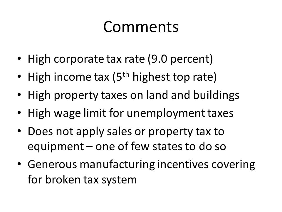 Possible Major Changes Repeated income tax-for-property tax swaps have failed; left NJ with some of the highest income AND property taxes High tax burden makes tax cuts difficult without spending cuts Local government reform re property tax Sales tax broadening as pay-for Corporate tax & inheritance tax