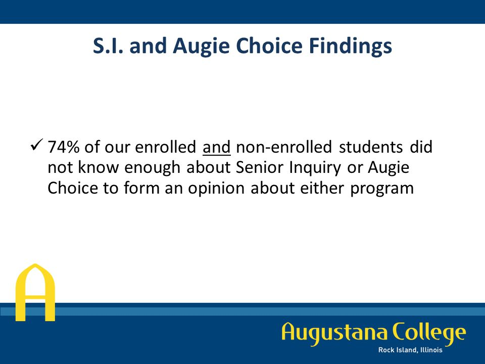 S.I. and Augie Choice Findings 74% of our enrolled and non-enrolled students did not know enough about Senior Inquiry or Augie Choice to form an opini