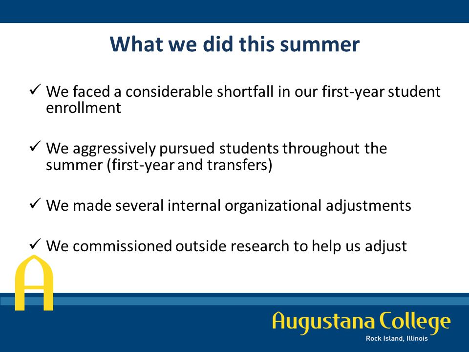 What we did this summer We faced a considerable shortfall in our first-year student enrollment We aggressively pursued students throughout the summer (first-year and transfers) We made several internal organizational adjustments We commissioned outside research to help us adjust