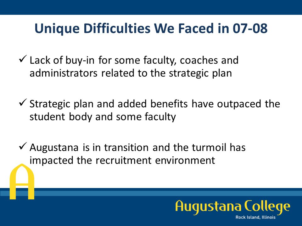 Unique Difficulties We Faced in 07-08 Lack of buy-in for some faculty, coaches and administrators related to the strategic plan Strategic plan and added benefits have outpaced the student body and some faculty Augustana is in transition and the turmoil has impacted the recruitment environment