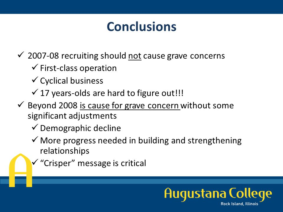 Conclusions 2007-08 recruiting should not cause grave concerns First-class operation Cyclical business 17 years-olds are hard to figure out!!.