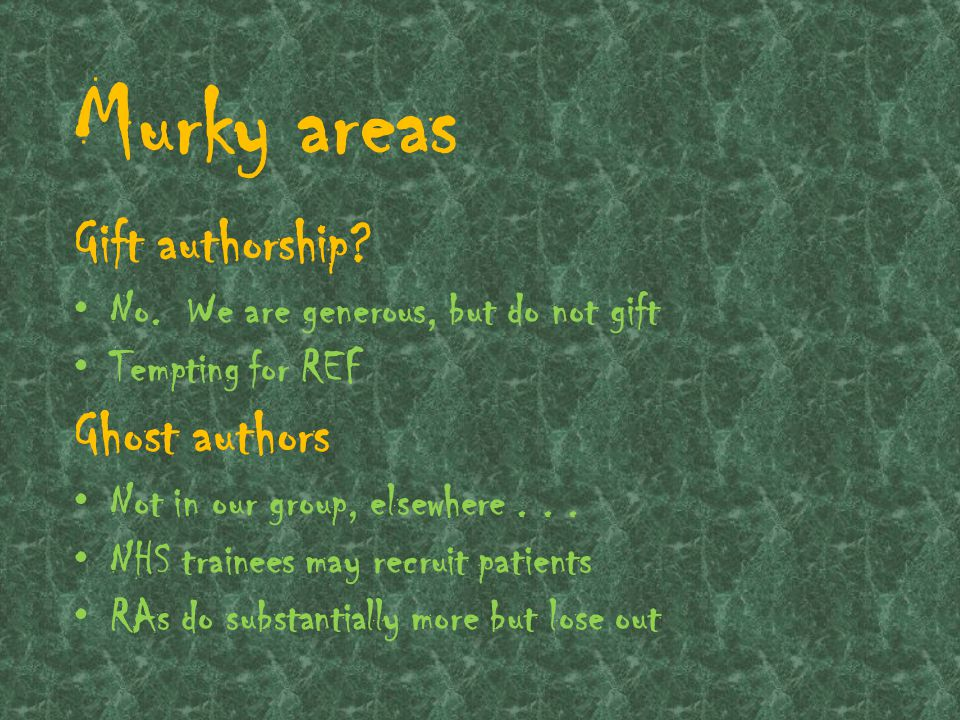 Murky areas Discipline specific definitions of authorship.