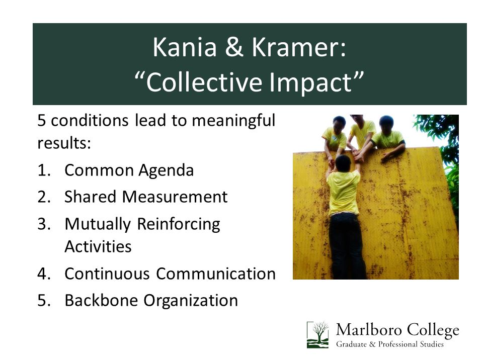 Introductions 5 conditions lead to meaningful results: 1.Common Agenda 2.Shared Measurement 3.Mutually Reinforcing Activities 4.Continuous Communication 5.Backbone Organization Kania & Kramer: Collective Impact