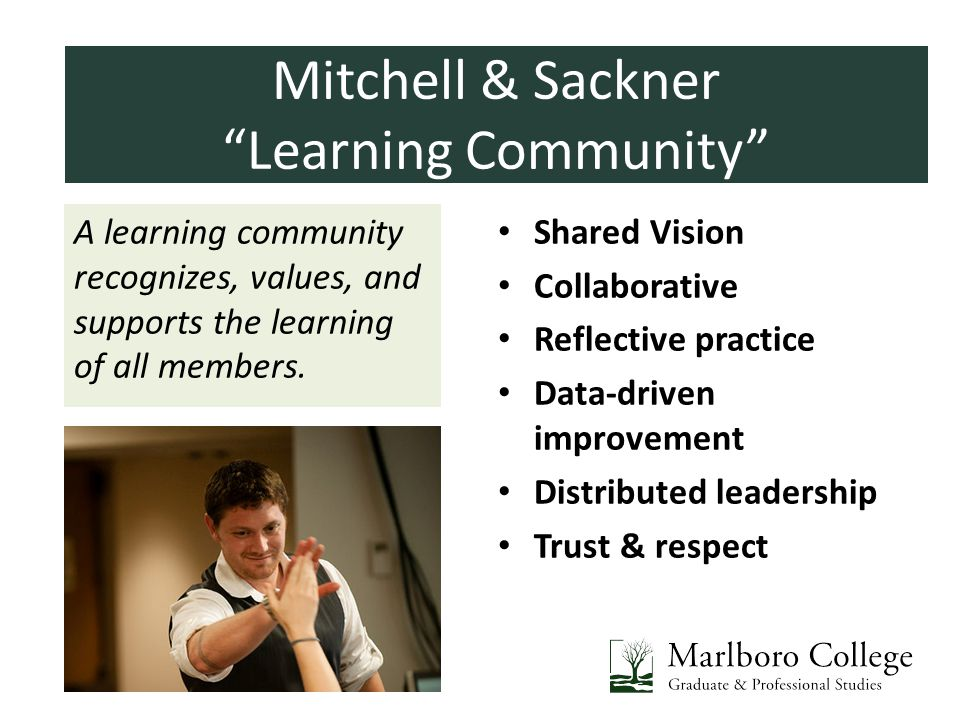 Introductions A learning community recognizes, values, and supports the learning of all members. Shared Vision Collaborative Reflective practice Data-