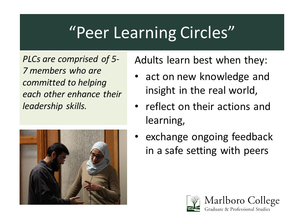 Introductions PLCs are comprised of 5- 7 members who are committed to helping each other enhance their leadership skills. Adults learn best when they: