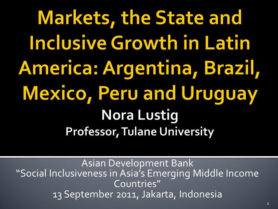  Representative sample of Latin American diversity:  high/medium/low ineq  high/low growth  Populist/social democratic/center-center-right governments 22