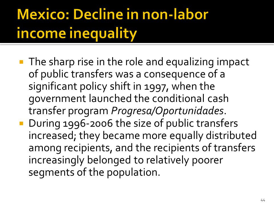  The sharp rise in the role and equalizing impact of public transfers was a consequence of a significant policy shift in 1997, when the government launched the conditional cash transfer program Progresa/Oportunidades.