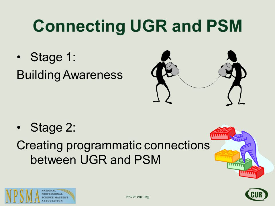 Connecting UGR and PSM Stage 1: Building Awareness Stage 2: Creating programmatic connections between UGR and PSM www.cur.org