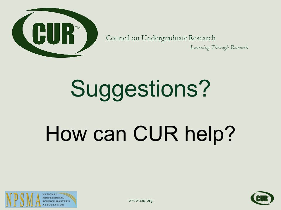 Council on Undergraduate Research Learning Through Research Suggestions.