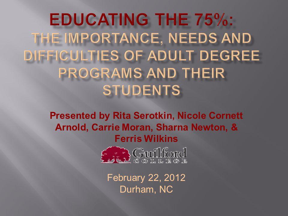 Presented by Rita Serotkin, Nicole Cornett Arnold, Carrie Moran, Sharna Newton, & Ferris Wilkins February 22, 2012 Durham, NC