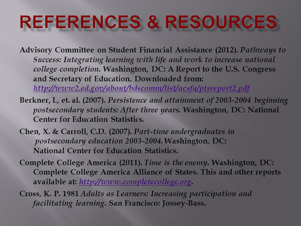 Advisory Committee on Student Financial Assistance (2012).