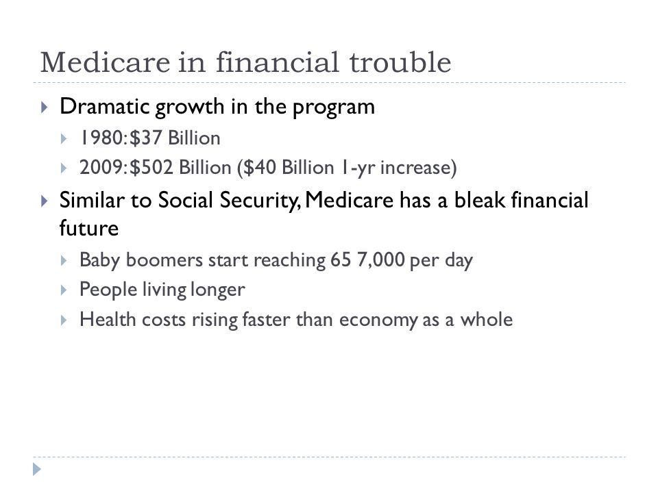 Medicare in financial trouble  Dramatic growth in the program  1980: $37 Billion  2009: $502 Billion ($40 Billion 1-yr increase)  Similar to Social Security, Medicare has a bleak financial future  Baby boomers start reaching 65 7,000 per day  People living longer  Health costs rising faster than economy as a whole