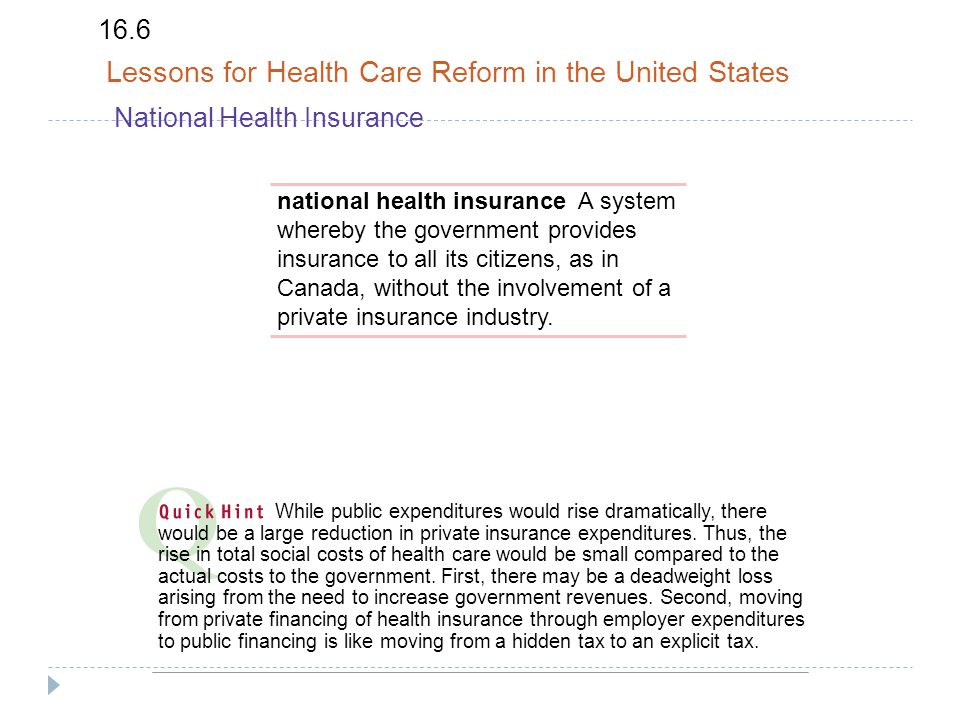 16.6 Lessons for Health Care Reform in the United States National Health Insurance national health insurance A system whereby the government provides insurance to all its citizens, as in Canada, without the involvement of a private insurance industry.