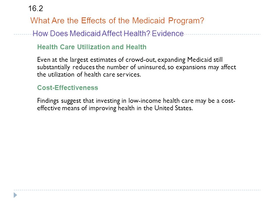 How Does Medicaid Affect Health.Evidence 16.2 What Are the Effects of the Medicaid Program.