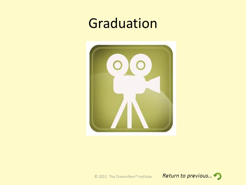 Graduation © 2011 The DreamRem® Institute Return to previous…