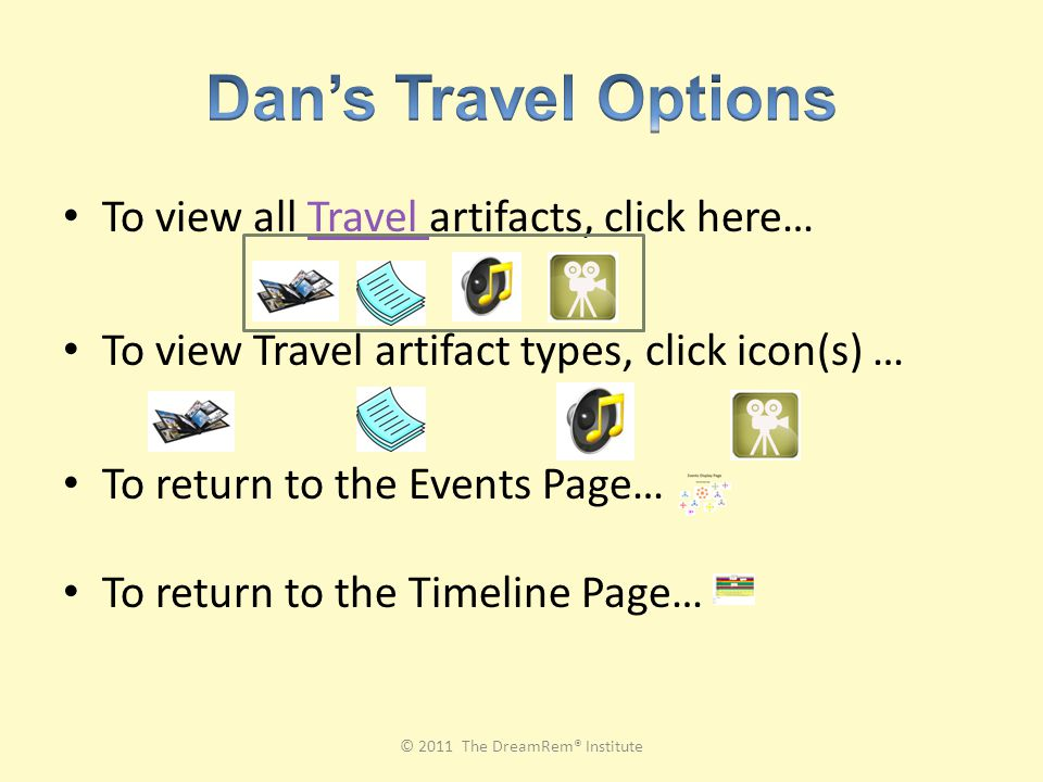 To view all Travel artifacts, click here…Travel To view Travel artifact types, click icon(s) … To return to the Events Page… To return to the Timeline Page… © 2011 The DreamRem® Institute