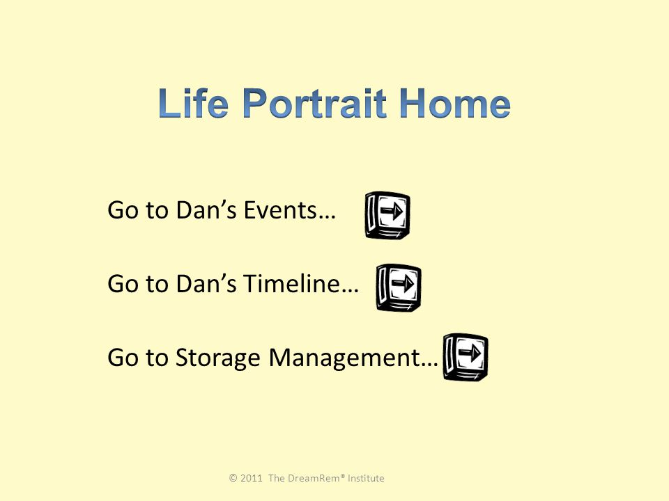 Go to Dan's Events… Go to Dan's Timeline… Go to Storage Management… © 2011 The DreamRem® Institute