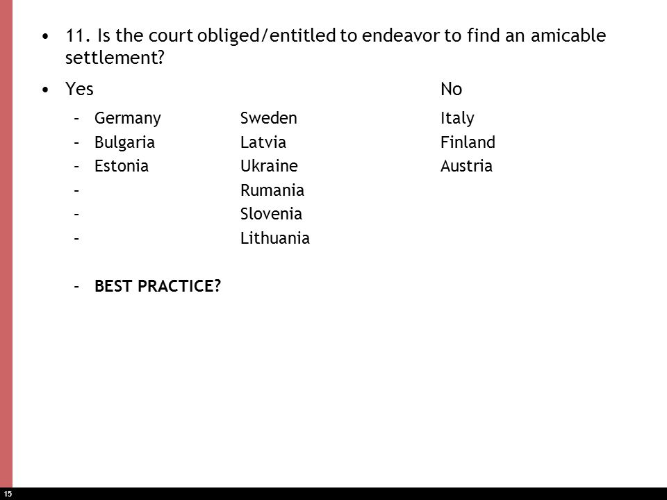 15 11. Is the court obliged/entitled to endeavor to find an amicable settlement.
