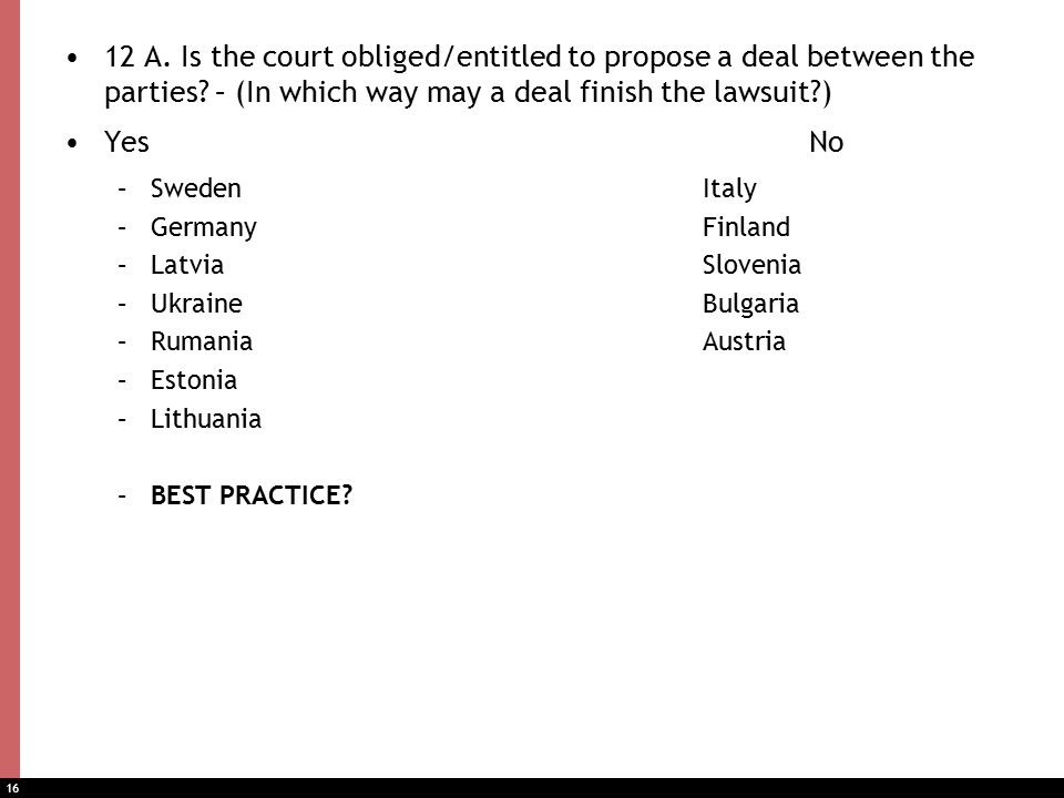 16 12 A. Is the court obliged/entitled to propose a deal between the parties.