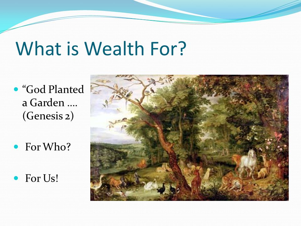 What is Wealth For God Planted a Garden …. (Genesis 2) For Who For Us!