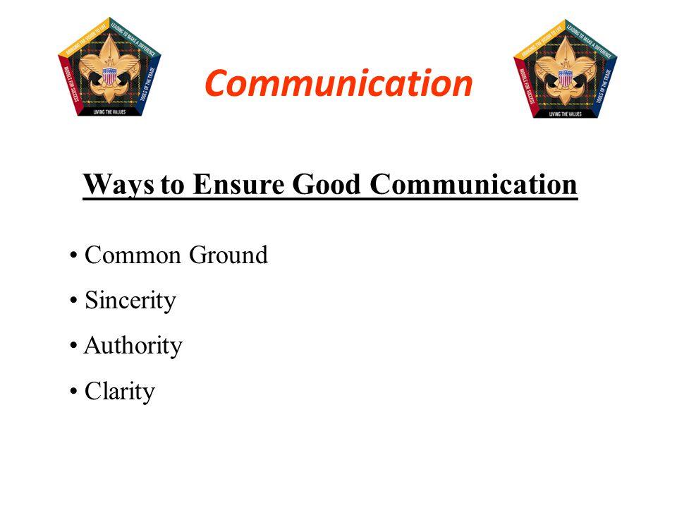 Ways to Assure Good CommunicationWays to Assure Good Communication Common Ground.