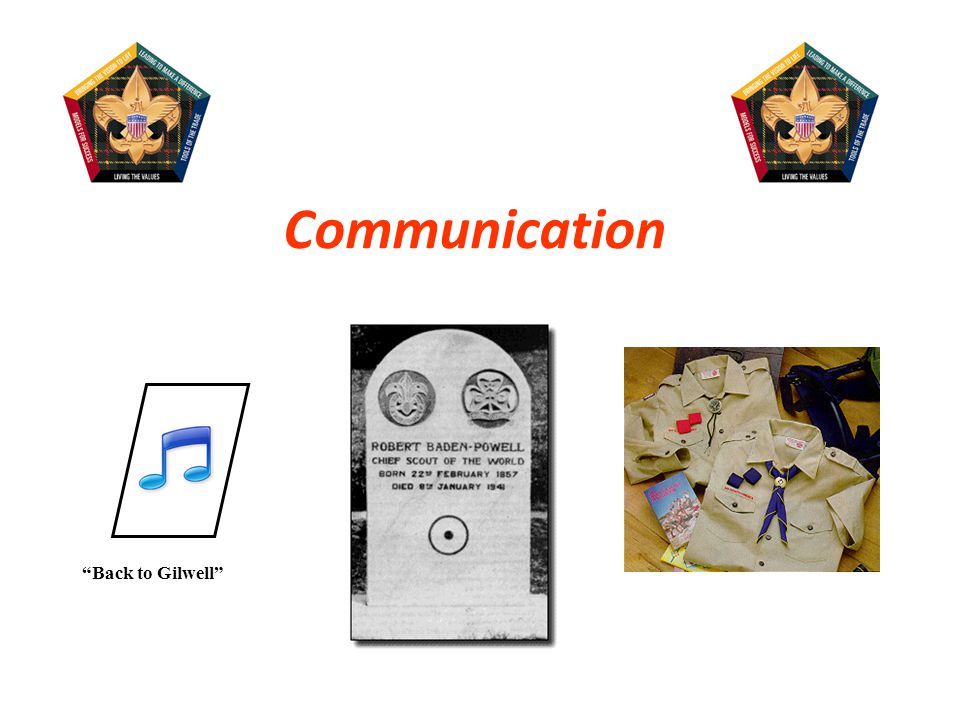 Gilwell Song The circle with a dot in it, on Baden- Powell's gravestone (the trail symbol for I have gone home. ) BSA uniforms, patches, Wood Badge beads Wood Badge icon (Axe and Log) The Gilwell Gazette, including the agenda of the day These are all forms of communication (verbal and nonverbal).