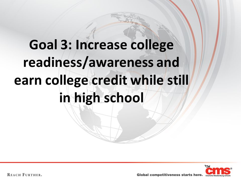 Goal 3: Increase college readiness/awareness and earn college credit while still in high school