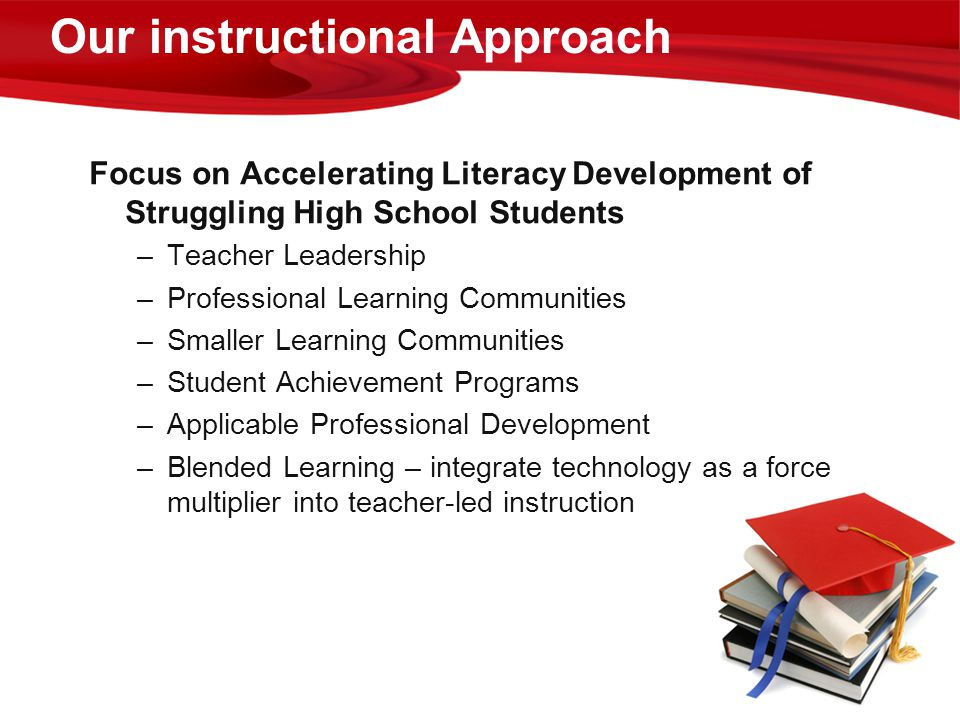 Our instructional Approach Focus on Accelerating Literacy Development of Struggling High School Students –Teacher Leadership –Professional Learning Co