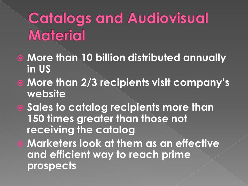  More than 10 billion distributed annually in US  More than 2/3 recipients visit company's website  Sales to catalog recipients more than 150 times greater than those not receiving the catalog  Marketers look at them as an effective and efficient way to reach prime prospects