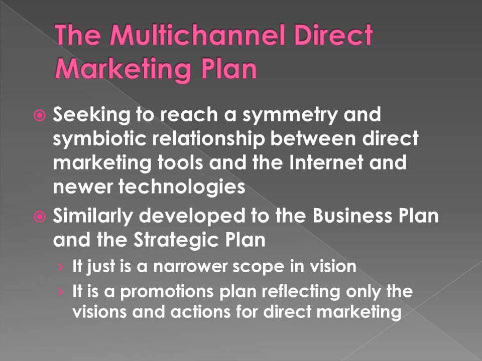  Seeking to reach a symmetry and symbiotic relationship between direct marketing tools and the Internet and newer technologies  Similarly developed to the Business Plan and the Strategic Plan › It just is a narrower scope in vision › It is a promotions plan reflecting only the visions and actions for direct marketing