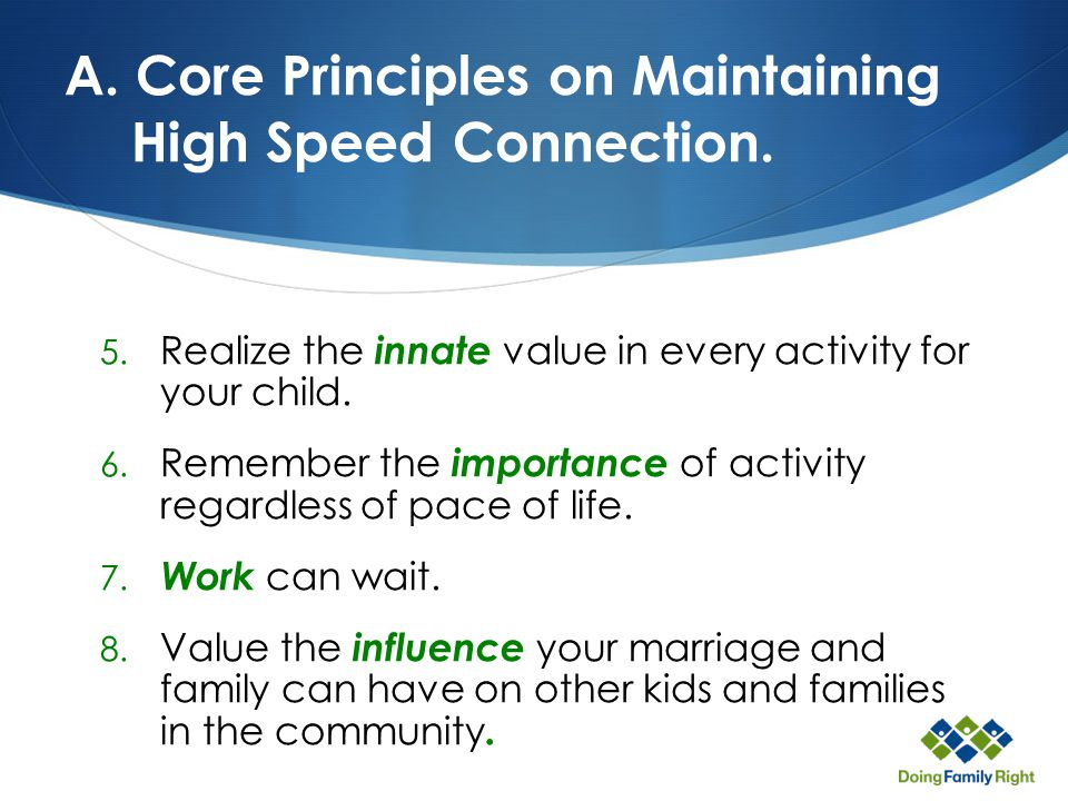 A. Core Principles on Maintaining High Speed Connection.