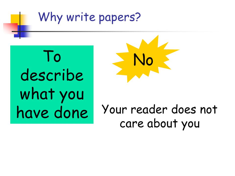 Why write papers To describe what you have done No Your reader does not care about you