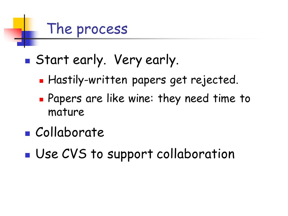 The process Start early. Very early. Hastily-written papers get rejected.