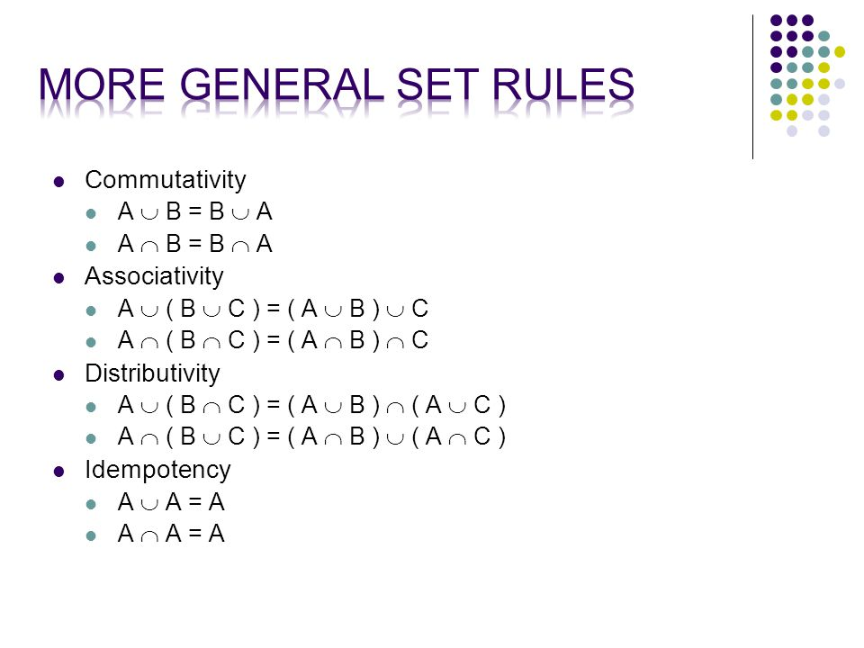 Commutativity A  B = B  A A  B = B  A Associativity A  ( B  C ) = ( A  B )  C A  ( B  C ) = ( A  B )  C Distributivity A  ( B  C ) = ( A  B )  ( A  C ) A  ( B  C ) = ( A  B )  ( A  C ) Idempotency A  A = A A  A = A