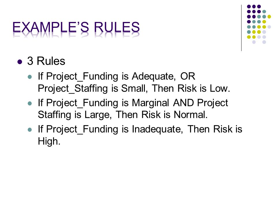 3 Rules If Project_Funding is Adequate, OR Project_Staffing is Small, Then Risk is Low.