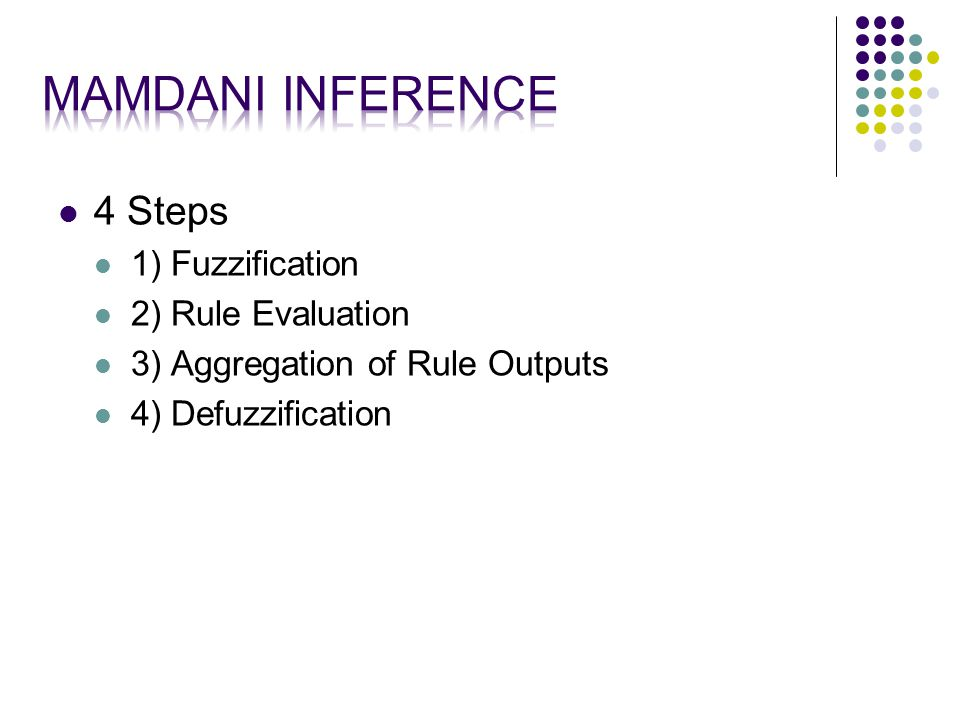4 Steps 1) Fuzzification 2) Rule Evaluation 3) Aggregation of Rule Outputs 4) Defuzzification