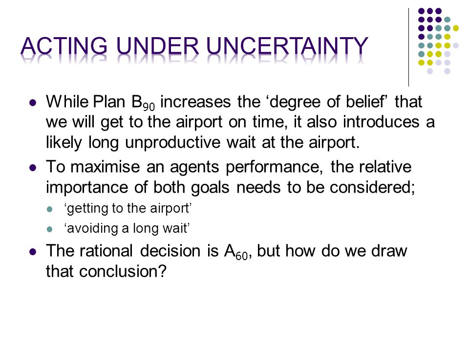 While Plan B 90 increases the 'degree of belief' that we will get to the airport on time, it also introduces a likely long unproductive wait at the airport.