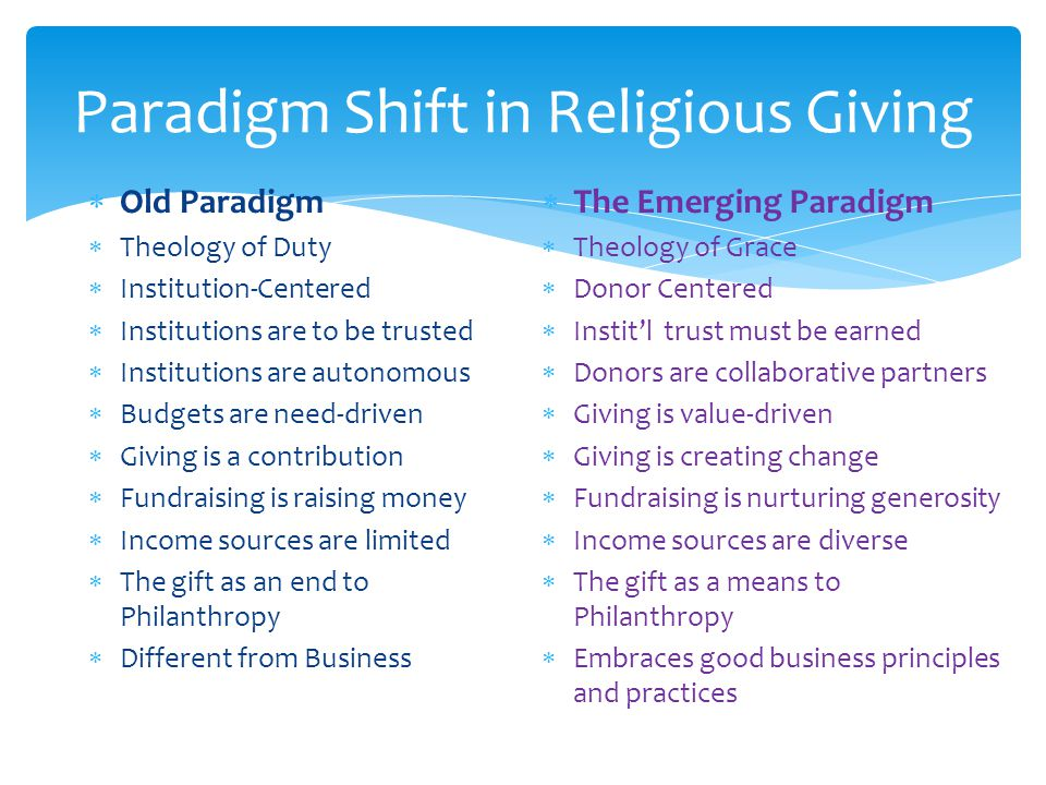 Paradigm Shift in Religious Giving  Old Paradigm  Theology of Duty  Institution-Centered  Institutions are to be trusted  Institutions are autonomous  Budgets are need-driven  Giving is a contribution  Fundraising is raising money  Income sources are limited  The gift as an end to Philanthropy  Different from Business  The Emerging Paradigm  Theology of Grace  Donor Centered  Instit'l trust must be earned  Donors are collaborative partners  Giving is value-driven  Giving is creating change  Fundraising is nurturing generosity  Income sources are diverse  The gift as a means to Philanthropy  Embraces good business principles and practices