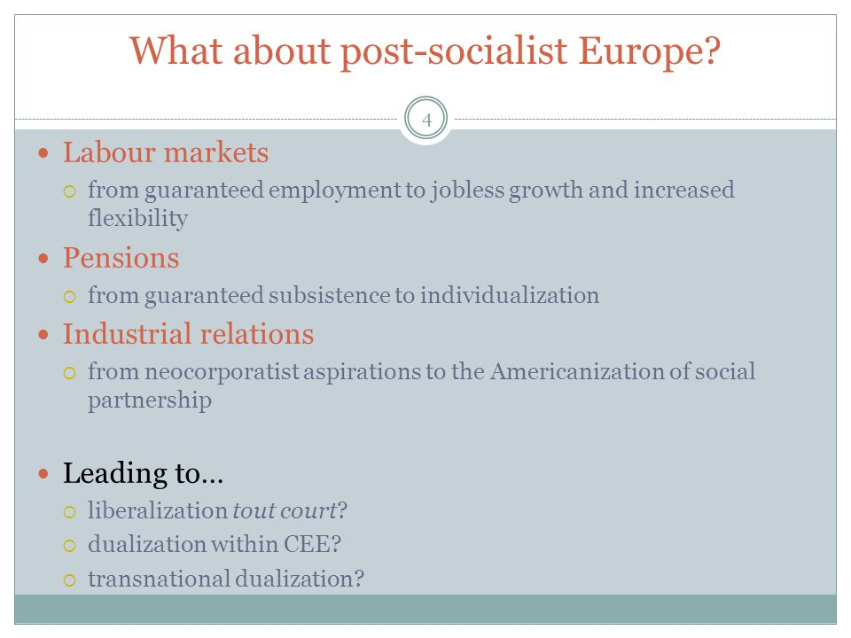 What about post-socialist Europe.
