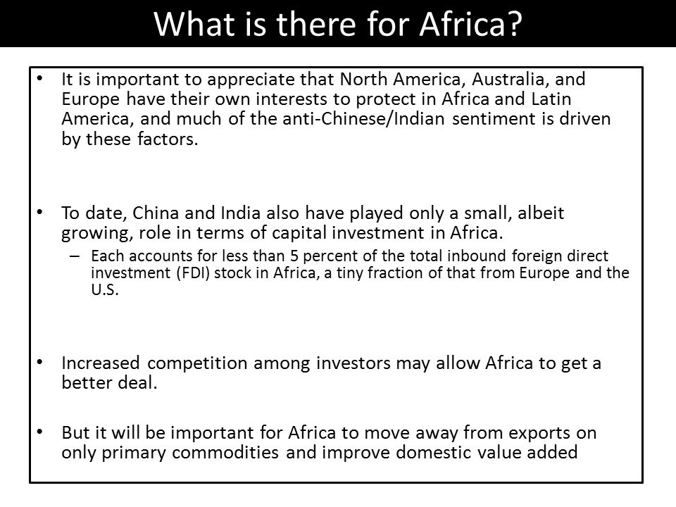 What is there for Africa.