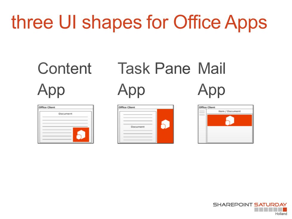 three UI shapes for Office Apps