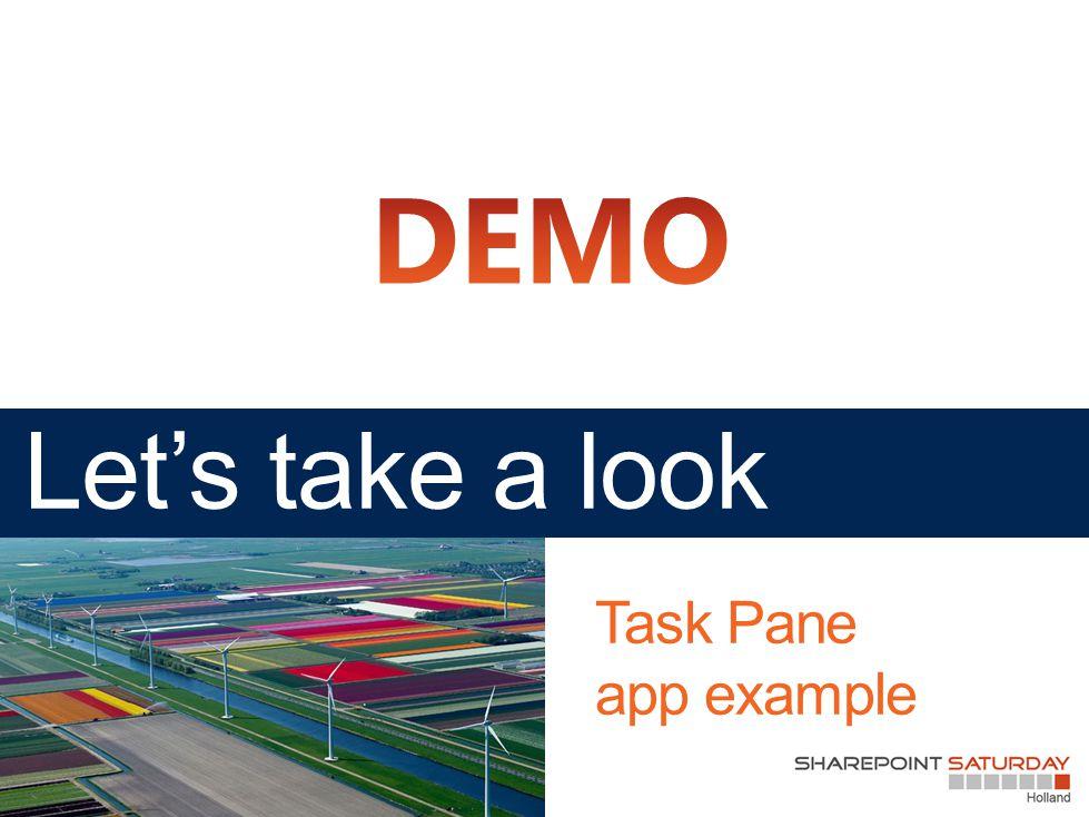 Task Pane app example